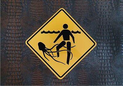 JELLYFISH DANGER SIGN / Aluminum Beach Warning Plaque - Poolside Decor - Caution](Poolside Decorations)
