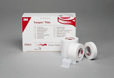 Transpore Surgical Medical Tape, White, 1 Inch X 10 Yards, 3M 1534-1 - Box of 12