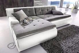 Beautiful Modern Brand New Soft Corner Sofa White And Grey