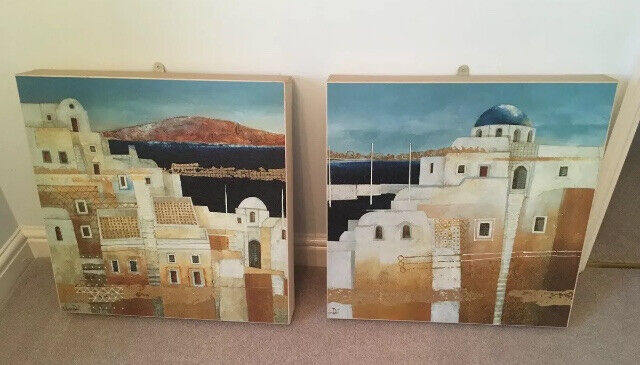 2 mediterranean landscape canvas prints paintings Turkish Greek town blue  white with gold accent | in Newark, Nottinghamshire | Gumtree