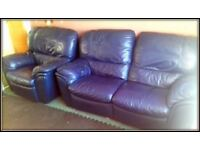 Two seater Leather Recliner Sofa + Recliner Armchair