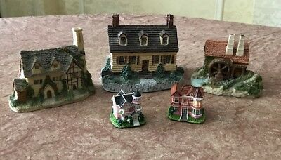 Lot 5 Vintage House Sculptures - Village Victorian Tudor Water Mill Colonial
