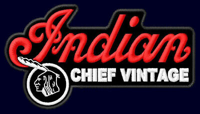 """INDIAN CHIEF VINTAGE EMBROIDERED PATCH ~4-1/4""""x 2-1/2"""" MOTORCYCLES BIKER RIDE V2"""