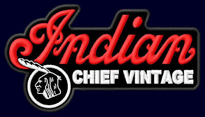 """INDIAN CHIEF VINTAGE EMBROIDERED PATCH ~4-1/4"""" x 2-1/2"""" MOTORCYCLES V-TWIN V2 #2"""