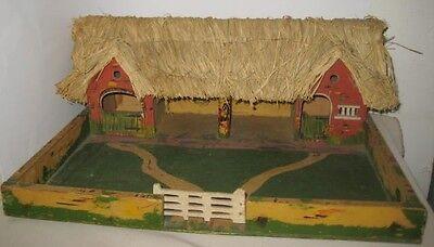 Old Wood Painted Platform Farmyard Stable Vignette for Christmas Putz Village