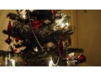 Christmas Tree (Artificial) - full set w/decorations & lights