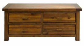 Mark Webster Kember Solid Acacia Wood Four Drawer Coffee Table