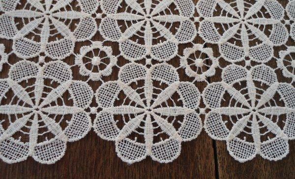 "Vintage Schiffli Embroidered Lace Tablecloth Ecru Floral Cotton Snowflakes 62"""