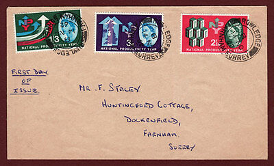 GB QEII 1962 NATIONAL PRODUCTIVITY YEAR FIRST DAY COVER  SG631-633