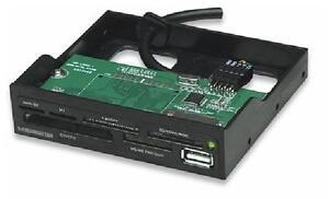 Manhattan Multi-Card Reader/Writer - Hi-Speed USB, 3.5 Bay Mount, 60-in-1, Black - 100915