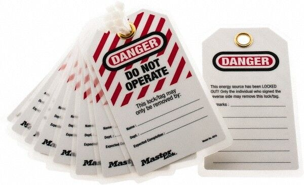 """Master Lock. 3-1/8"""" High x 5-3/4"""" Long, DANGER - DO NOT OPERATE - THIS LOCK/T..."""