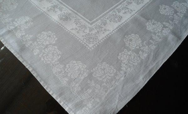 4 Vintage Linen Double Damask Dinner Napkins Mum Dots Satin Band