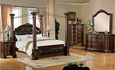 NEW 4PC MANDALAY CANOPY BROWN CHERRY FINISH WOOD QUEEN KING BEDROOM SET Set Wood Finish Canopy Bed