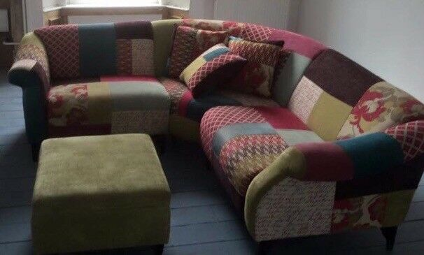 Multi Colour Patchwork Corner Sofa and Footstool