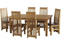 Tortilla 6' Dining Set in Distressed Waxed Pine with Pine/faux Brown chairs - New - £343.50