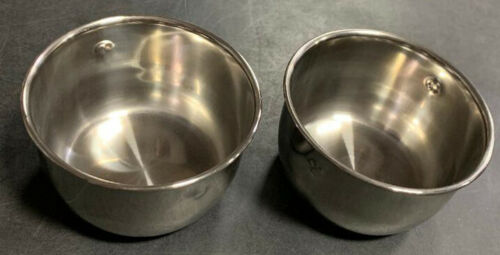 """4"""" Lot of 2 Bird Parrot Cage Stainless Steel Seed Water Feeder Cups For Mcage"""