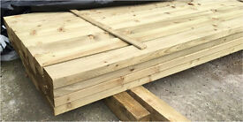 """🌲Wooden/ Timber Easy Edge Tanalised Lengths/ Rails •New• 4""""X 2""""X 14Ft"""