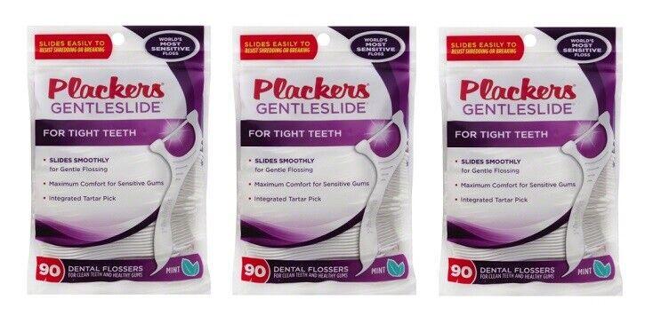 Plackers Gentleslide Dental Flossers for Tight Teeth, 90 ea