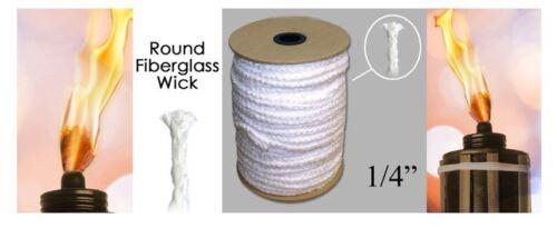 "1/4"" Round Fiberglass Wick Sold By The Foot Tiki Torch Oil Lamp Lantern Kerosene"