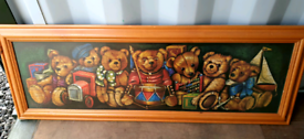 Large solid wood framed teddybear picture