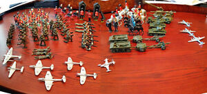 Unique set of Dinky Toy Lead Soldiers, vehicles & airplanes