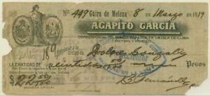ANCIEN CHEQUE DE CUBA 1919