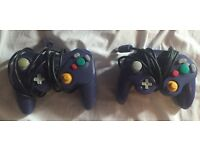 2 x GameCube controllers blue in colour