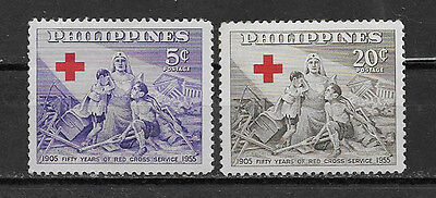 PHILIPPINES ,1956 , RED CROSS , SET OF 2 STAMPS ,  PERF,  MNH