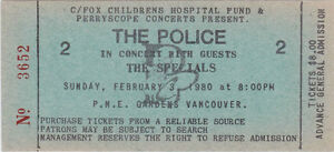The Police 1980 Concert Ticket Unused PNE Gardens in Vancouver