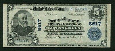 U S  1902  5 National Banknote  Los Angeles  Fr 590 Farmers   Merchants Bank Vf