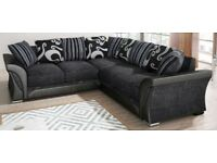 SAME/NEXT DAY LONDON NEW LARGE SHANNON CORNER OR 3+2 SOFA GREY BLACK or BROWN BEIGE FABRIC & LEATHER