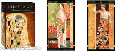 Golden Tarot of Klimt Pocket Mini Deck NEW Sealed 78 Cards Gold foil 2