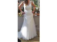 Size 12 Heidi Hudson Aphrodite antique white Wedding Dress and underskirt