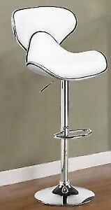 LEATHER BAR STOOLS WITH ADJUSTABLE PUMP AND CHROME LEGS