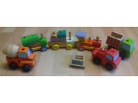 wooden train and truck set