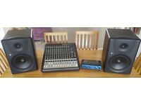 Mackie MR8 MKI Monitors (Pair) / Mackie Onyx 1620 MKI Mixer / Samson Compressor / Monitor Stands