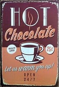 8 x 12 inch- Hot Chocolate- Retro Diner Inspired Tin Wall Sign