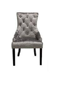 Silver Crushed Velvet Dining Chair, Wenge Leg