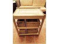 MAMAS AND PAPAS WOODEN CHANGING TABLE- MAT + STORAGE BASKETS- ALSO HAVE COT TOO!