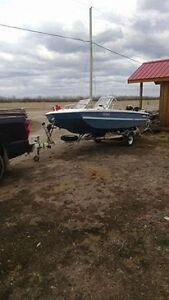 16 foot Boat Motor Trailer trade for 5th wheel hitch and rails