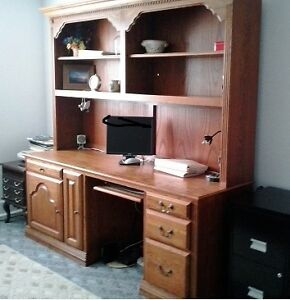 Solid wood desk with hutch