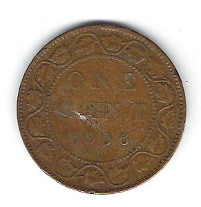 Coin 1906 Canada 1 Cent Penny Kingston Kingston Area image 3