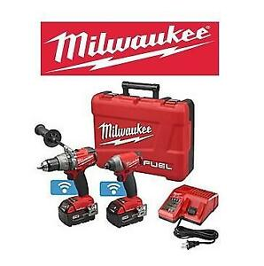 NEW MILWAUKEE DRILL  DRIVER KIT 2796-22 150231261 COMBO 2 TOOL HAMMER DRILL HEX IMPACT DRIVER POWER TOOL CORDLESS LIT...
