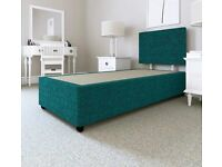 SINGLE DIVAN BASE with 2 STORAGE DRAWERS & HEADBOARD - TEAL CHENILLE FABRIC.