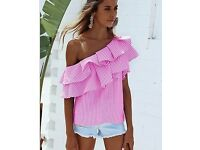 JOBLOT Mixed Styles Women's Tops 10 Pieces Floral Blue Gingham Bardot Top & Pink Candy Stripe Top