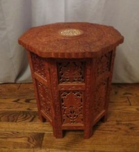 Hand Carved Wooden Side Table