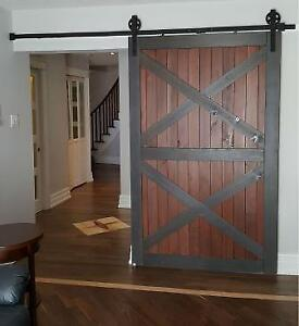 Soft close interior barn door hardware, & custom doors