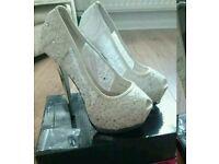 White diamanté bridal shoes