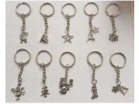 10 x Christmas Keyrings made with Tibetan silver charms