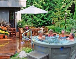 add a 110 v plug and play hot tub spa to your backyard today that rolls into place easily ( 403-248-0777 )